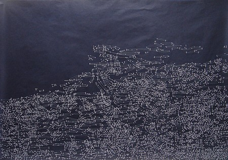 Theresa Chong ,   Divine  ,  2008     color pencil and gouache on indigo hand dyed Japanese rice paper ,  32 x 46 1/4 in. (81.3 x 117.5 cm)     TCH-008