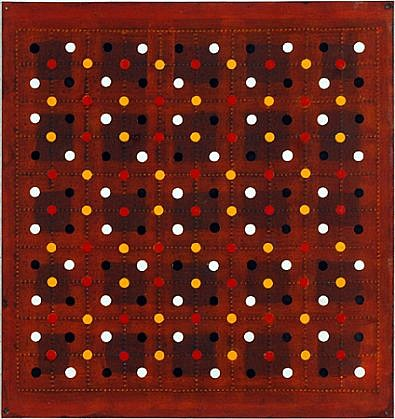 Christopher French ,   Untitled  ,  1997     Oil and acrylic on Braille paper ,  11 1/2 x 11 in. (29.2 x 27.9 cm)     CFR-025
