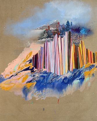 Jackie Tileston, Nirvanopolis 2008, Oil and mixed media on linen